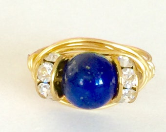 Deep Blue Lapis Lazuli Solitaire Ring With Rhinestone Rondelles Wire Wrapped Free Style In German Gold Wire