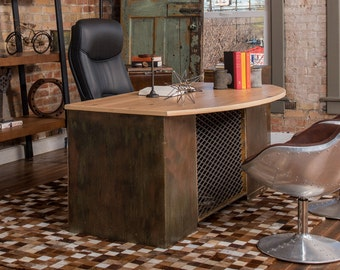Industrial Executive Bow Front Desk