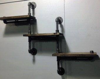 Industrial Rustic Urban Three Tier Iron Pipe Shelf (Pick your own stain)