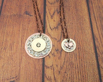 Mother Daughter, Pendant Set, Wedding Jewelry, Personalized Pendant, Metalwork Jewelry, Filigree Pendant