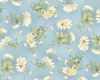 Gentle Breeze Blue Tossed Daisies by Jan Douglas  8512M-B flowers, floral, quilting, cotton, maywood studios, fabric, metre, yard