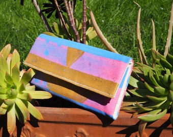 Hand painted geometric wallet
