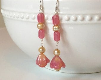 Long and Lovely Pink Czech Glass and Pearl Flower Earrings