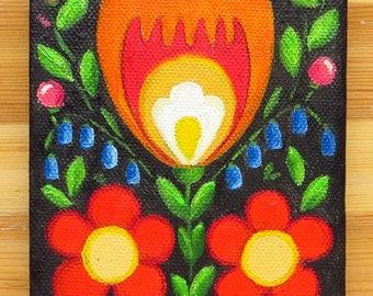 Folk, Original Art, Flower, Small, Folk Panttern, Polish Folk Art, Hand Painted, Little Painting, Oil on canvas, MikiMayo
