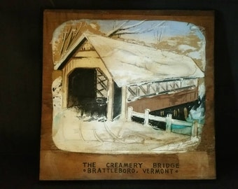 Wooden picture of creamery Bridge Brattleboro Vermont