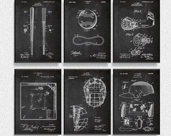 Baseball Patents Set of 6 Prints, Baseball Print, Baseball Poster, Baseball Patent, Baseball Art, Baseball Wall Art, Coffee Shop Decor