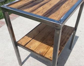 Industrial Steel and wood corner table / nightstand