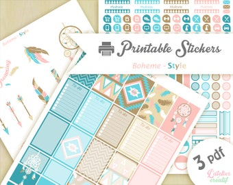 Bohemian style, amerindian, dreamcatcher, bobo | Printable stickers | 3 pdf | Instant download | Planner, Happy planner