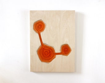 Wall sculpture in wood and epoxy resin