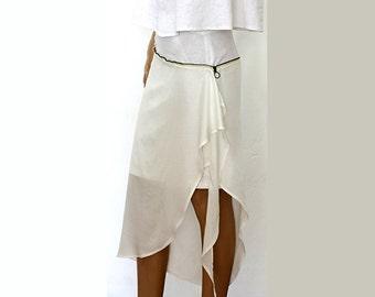 Extravagant Asymmetrical Linen, Cotton Skirt/ Metal zipper