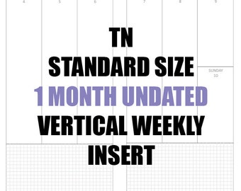 TN Standard 1 Month Undated Insert: MO2P, Vertical WO2P w/graph paper, Habit and Online Order trackers, Monthly Goals & Achievement Pages