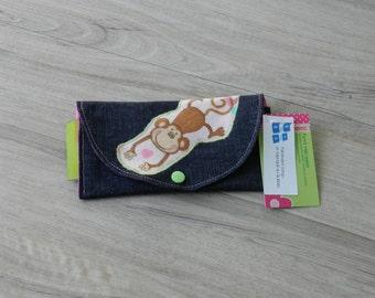 Wallet, wallet child, monkey, door-ticket wallet, wallet, pink