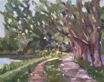 Original plein air Landscape painting on canvas, plein air oil painting impressionist style, home decor, wall art, dorm decoration, home art