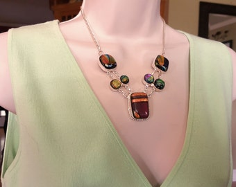 Dichroic Glass .925 Sterling Silver Necklace