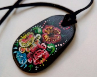 Self-hardening clay pendant Handmade art Jewelry designers for a gentle woman.