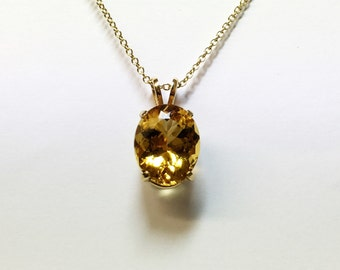 Large 16x13mm yellow beryl pendant 9ct gold