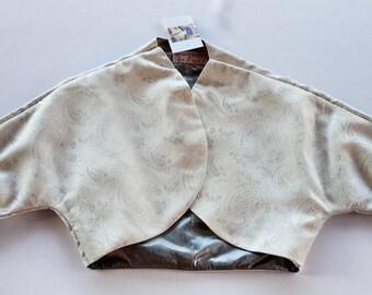 2S&1M Silver Paisley with Metallic Lining Bolero Jacket