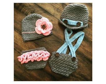 Crochet Baby Hat and Diaper Cover Set