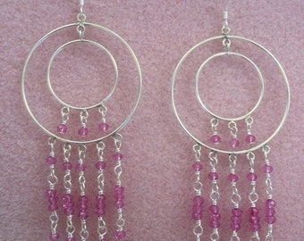 Pink Mystic Quartz and Sterling Silver Chandelier Earrings