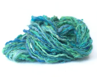 "Handspun and Hand Dyed Art Yarn ""Turquoise Sea"""