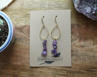 Amethyst Earrings, Amethyst, Purple Earrings, Gemstone Earrings, Gold Earrings, Boho Earrings, Bohemian Earrings