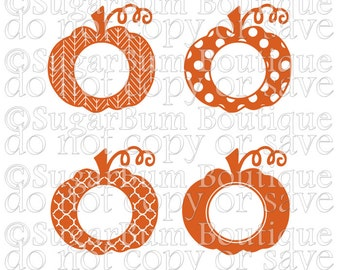 Pumpkin Fall Thanksgiving Halloween Monogram (Set of 4) svg