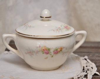Vintage Harker Pottery Co. Sugar Bowl, 22kt Gold