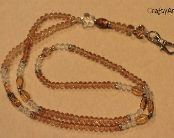 Lanyard (crystal/beaded) - amber-coloured