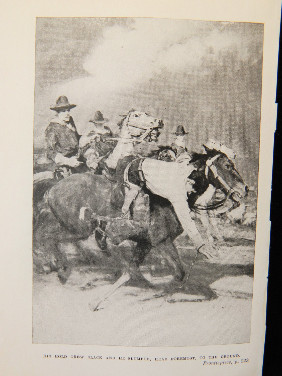 vintage b u0026w book plate cowboy western chase scene the uphill