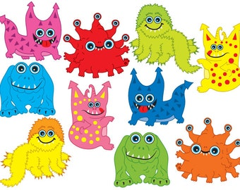 BUY 1 GET 2 FREE - Monster Clipart - Digital Vector Monsters Clip Art for Personal and Commercial Use