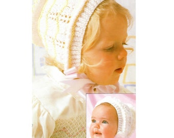 Vintage Pattern Knitted Bonnets 0- 10 Years Two Styles PDF Download