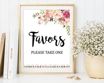 Floral Boho Favors Sign, Floral Boho Wedding Sign, Tribal Boho Favors Sign, Wedding Favors Sign, Printable Sign, Instant Download 109-W
