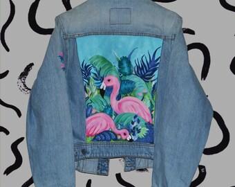 Hand painted denim jacket FLAMINGO. painted clothing. designer clothing