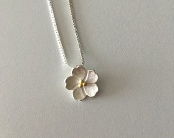 Japanese sakura cherry blossoms sterling silver necklace