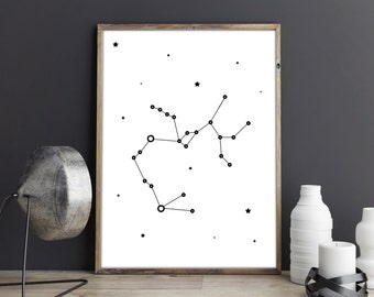 Sagittarius constellation print, Zodiac Sagittarius art, Printable poster, many sizes to download