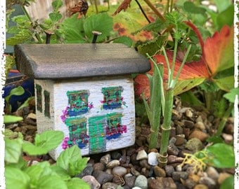 Little Flower Cottage, little houses, wooden house, wood house, driftwood cottage, christmas gift, christmas present, boxed gift, wooden art