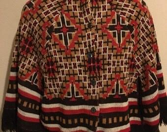 Vintage 1970s Montgomery Ward Poncho Southwestern Native Pattern