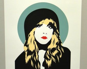 Stevie Nicks Screen Print // Hand Printed Silkscreen Poster // Fleetwood Mac // Gold Dust Woman // White Witch