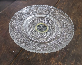Vintage Glass Plate, Pedestal Plate, Jewelry Dish, Candy Dish
