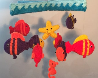 Sea Creatures Knitted Mobile