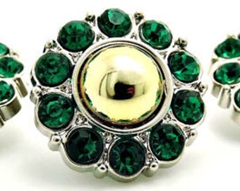 Gold Pearl w/ Green Surrounding Acrylic Rhinestone Buttons Coat Buttons Fashion Garment Buttons Bridal Buttons  25mm 2997 01P 6R