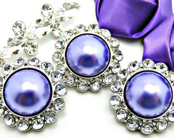 GRAPE PURPLE Pearl Rhinestone Acrylic Buttons W/ Crystal Clear Surrounding Rhinestones Brooch Button Bouquet Coat Buttons 26mm 3185 98P 2R