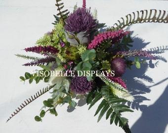 Thistle & heather Scottish bouquet purple tones