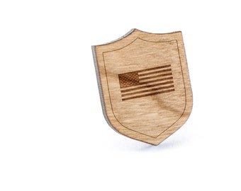 USA Flag Lapel Pin, Wooden Pin, Wooden Lapel, Gift For Him or Her, Wedding Gifts, Groomsman Gifts, and Personalized