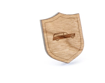 Hearse Lapel Pin, Wooden Pin, Wooden Lapel, Gift For Him or Her, Wedding Gifts, Groomsman Gifts, and Personalized