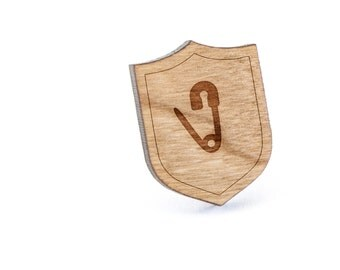 Safety Pin Lapel Pin, Wooden Pin, Wooden Lapel, Gift For Him or Her, Wedding Gifts, Groomsman Gifts, and Personalized
