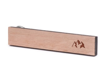 Mountains Tie Clip, Wood, Gift For Him, Wedding Gifts, Groomsman Gifts, and Personalized