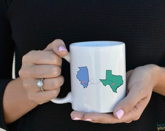 Long Distance Mug, Best Friend Mugs, State To State Mug, State Mug, Going Away Gift - Country To Country Mugs - Long Distance Gift -