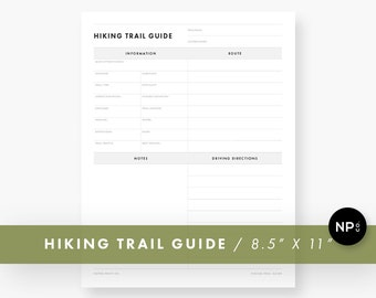 Day Hike Planner / Hiking Planner / Trail Guide Planner / Backpacking Planner