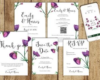 Bellflowers wedding invitation suite with webapp - Wedding invitation template, Printable wedding invitation, PDF, Download, Purple Flowers